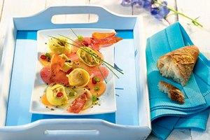 Melonen-Carpaccio mit Fleisch-Tortelloni