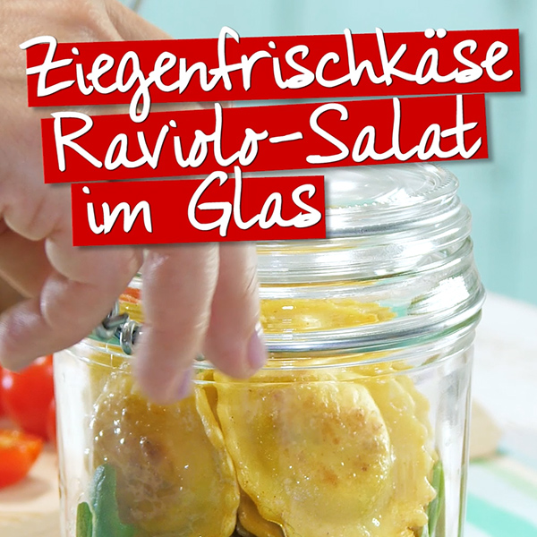 Raviolo-Salat im Glas