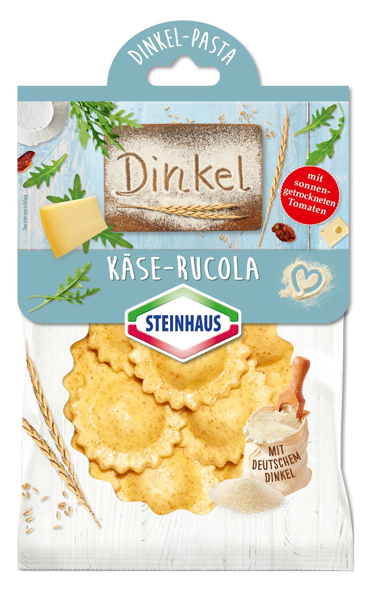Dinkel-Pasta Käse Rucola mit sonnengetrockneten Tomaten