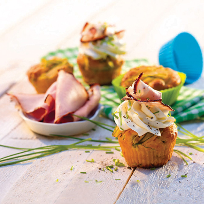 Herzhafte Cupcakes mit Thymian-Honig-Krustenbraten